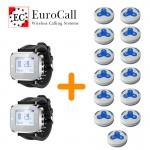EuroCall éttermi hívórendszer csomag, 2db karórával és 15db három funkciós, vízálló gombbal