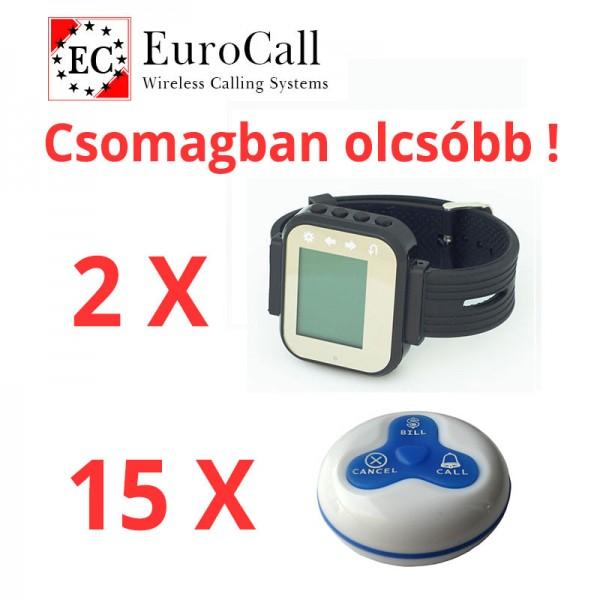 EuroCall éttermi hívórendszer akciós csomag, 2db karórával és 15db három funkciós, vízálló gombbal