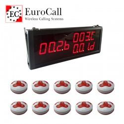EuroCall asztali hívórendszer készlet, fali kijelzővel és 10db vízálló hívógombbal