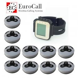 EuroCall asztali hívórendszer készlet, karórával és 10db három funkciós gombbal
