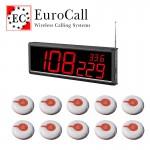 EuroCall éttermi pincérhívó rendszer csomag, nagy fali kijelzővel, 10db vízálló gombbal