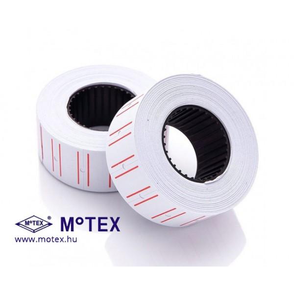 MoTEX árazócímke 22x12mm, piros vonallal, szögletes, MX-5500NEW egysoros árazógéphez + AJÁNDÉK festékhenger